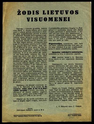 Žodis Lietuvos visuomenei / L.K. blaivybės d-jos c. valdyba. - 1930