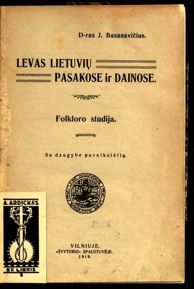 Levas lietuvių pasakose ir dainose / D-ras J. Basanavičius. - 1919