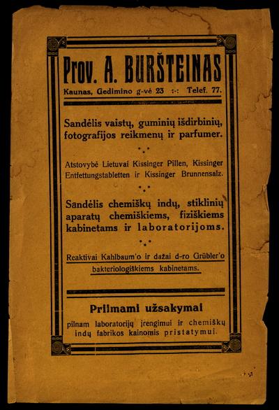 """""""Prov. A. Buršteinas [...] sandėlis vaistų, guminių išdirbinių, fotografijos reikmenų ir parfumer."""". - 1937"""