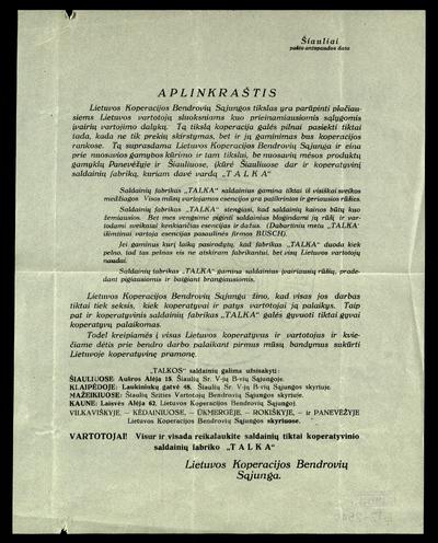 Aplinkraštis. Lietuvos koperacijos bendrovių sąjungos tikslas yra parūpinti plačiausiems Lietuvos vartotojų sluoksniams kuo prieinamiausiomis sąlygomis įvairių vartojimo dalykų / Lietuvos koperacijos bendrovių sąjunga. - 192?