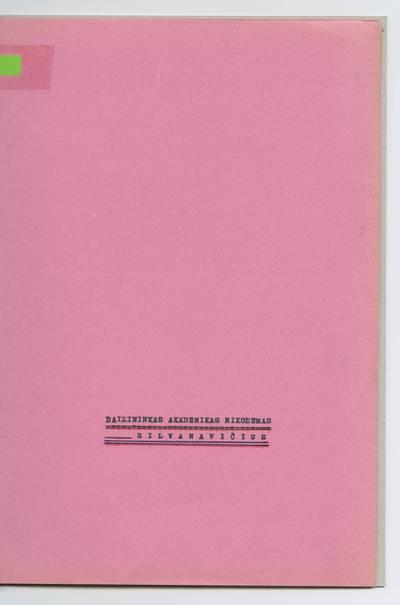 Prano Juozapavičiaus kraštotyros rankraščių rinkinys. Biografijos. Nikodemas Silvanavičius / Pranas Juozapavičius. - 1972