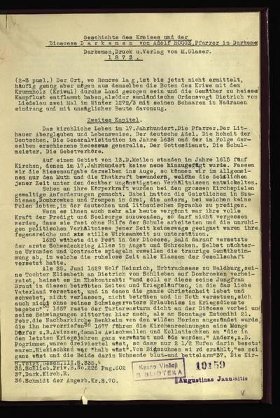 Geschichte des Kreises und der Dioecese Darkemen von Adolf Rogge, Pfarrer in Darkemen. Darkemen, Druck u. Verlag von M. Glasser, 1873