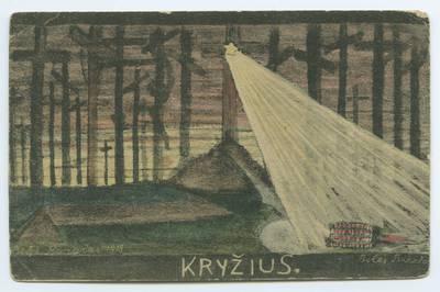 Senieji Lietuvos atvirukai ir fotografijos. Įvairūs atvirukai. Kryžius / Balys Buračas. - 1918