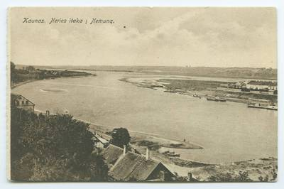 Senieji Lietuvos atvirukai ir fotografijos. Kaunas ir jo apylinkės. Kaunas. Neries itaka į Nemuną. - 1920