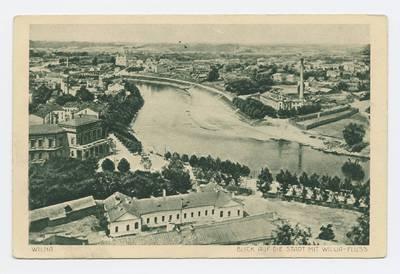 Senieji Lietuvos atvirukai ir fotografijos. Vilnius ir jo apylinkės. Wilna. Blick auf die Stadt mit Wilija-Fluss