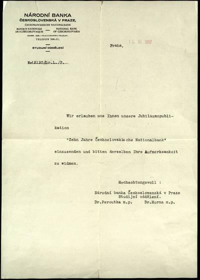 Petro Šalčiaus rankraščių fondas. Biografiniai ir buities dokumentai. [Čekoslovakijos nacionalinio banko lydraštis]. - 1937.11.15