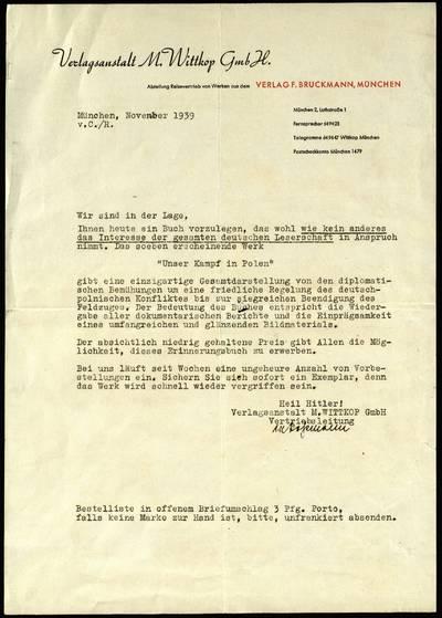 Petro Šalčiaus rankraščių fondas. Biografiniai ir buities dokumentai. [Knygos Unser Kampf in Polen reklama su lydraščiu] / Verlagsanstalt M. Wittkop GmbH. - 1939, lapkr.