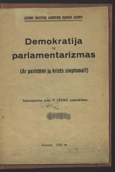 Demokratija ir parlamentarizmas. - 1930