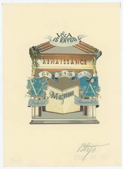 Algimanto Šlapiko ekslibrisai. V&A, iš knygų. Renaissance / [Algimantas Šlapikas]. - 2011