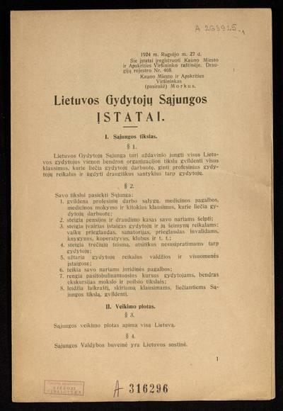 Lietuvos gydytojų sąjungos įstatai. - 1924