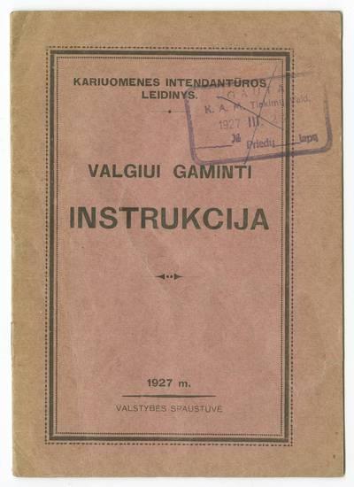 Valgiui gaminti instrukcija. - 1927