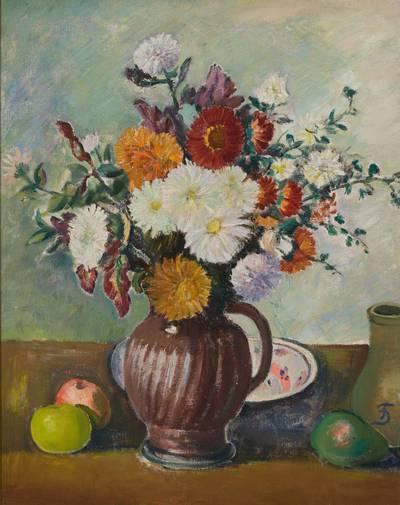Pranas Domšaitis. a) Gėlės; b) Peizažas su karvėmis. 1936