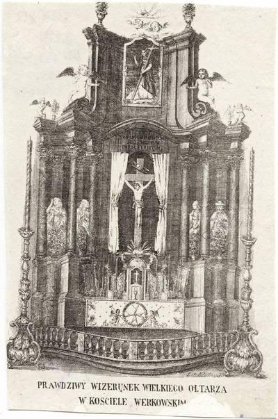 Antanas Kliukovskis. Didysis Verkių Šv. Kryžiaus bažnyčios altorius. 1875