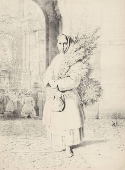Kanutas Ruseckas. Lietuvaitė su verbomis. 1900