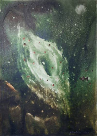 Valerijus Bodiajus. Meno kūrinys. Akvarelė kosmoso tema. 2005