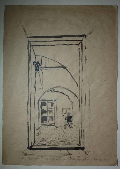 """Genovaitė Jacėnaitė. Piešinys """"Vaizdas iš mano dirbtuvės per atidarytas duris į kiemą"""". 2010"""
