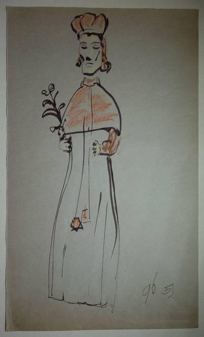 """Genovaitė Jacėnaitė. Piešinys """"Šv. Kazimieras"""". 1996"""