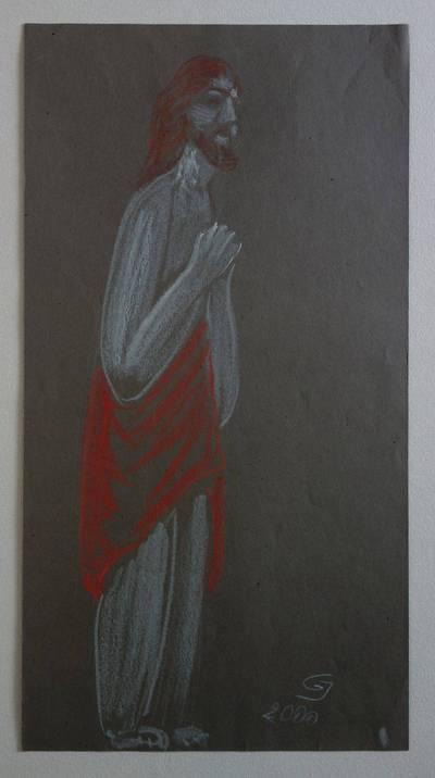 """Genovaitė Jacėnaitė. Piešinys """"Jėzus"""". 2000"""