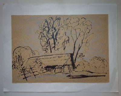 """Genovaitė Jacėnaitė. Piešinys """"Vaišniūnai"""". 1995"""