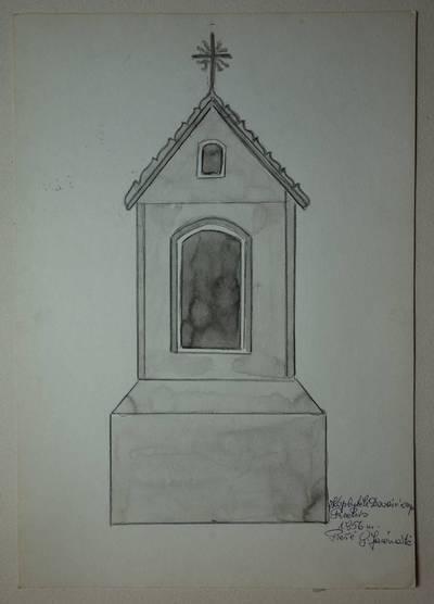 Genovaitė Jacėnaitė. Piešinys. Koplytėlė Dovainonyse. 1956
