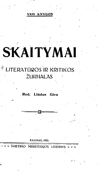 Skaitymai / Švietimo ministerija. - 1920-1923