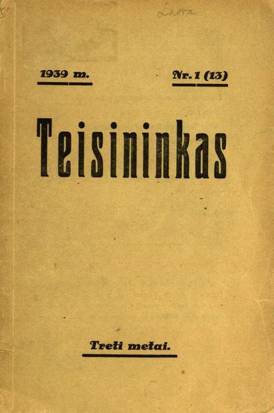 Teisininkas. - 1937-1939