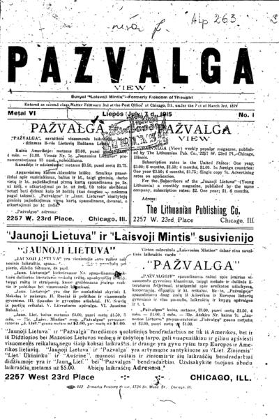 Pažvalga. - 1915