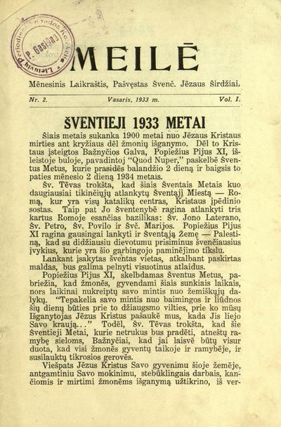 Meilė / redaguoja Tėvas Antanas Tamoliūnas (A.T.). - 1933-[1935?]