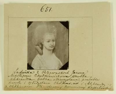 Kosakovskių šeimos archyvas. 7 : Ikonografija. - 1790-[1919]. 1436 : [Aleksandros Kosakovskytės prosenelės Liudvikos Chodkevičienės tapyto portreto nuotrauka]. - 189-