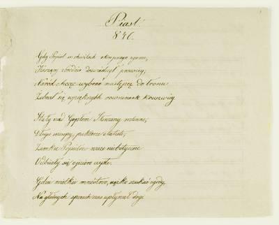Kosakovskių šeimos archyvas. 8 : Literaria. - 1790-1912. 1794 : [Neišaiškinto autoriaus odės Lenkijos karaliams, valdžiusiems nuo 841 iki 1333 m.]. - 18--