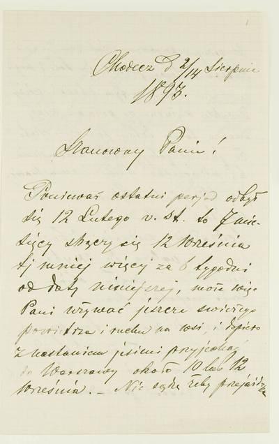 Kosakovskių šeimos archyvas. 9 : Archivalia. - 1698-1919. 1852 : [Laiškas neįvardintam adresatui] / T. Borysovičius (T. Borysowicz). - 1893.VIII.2/14
