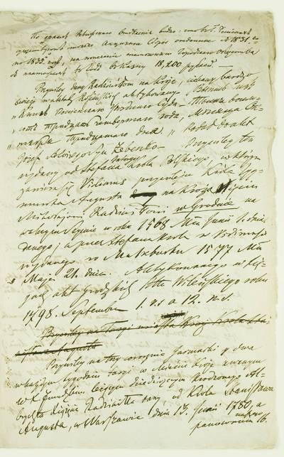 Kosakovskių šeimos archyvas. 9 : Archivalia. - 1698-1919. 1908 : [Raseinių ir Kražių miesteliams 1568-1792 m. suteiktų privelegijų sąrašas]. - 1833.VII.13