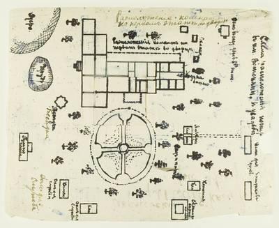 Kosakovskių šeimos archyvas. 9 : Archivalia. - 1698-1919. 1936 : [Troškūnų valsčiaus Vašuokėnų dvaro pastatų išdėstymo planas]. - 1910