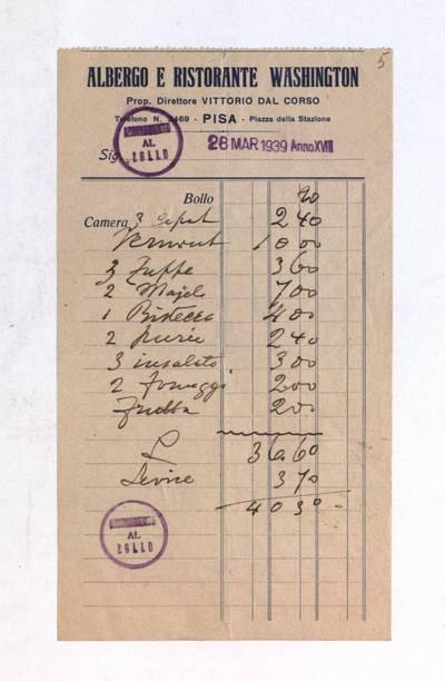 Aleksandro Račkaus rankraščių fondas. I : Asmens ir buities dokumentai. - 1912-1940. 8, 5 : [Milano viešbučio