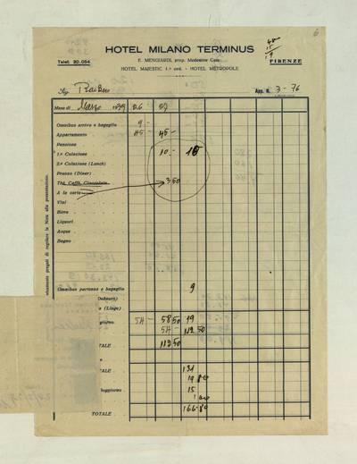 Aleksandro Račkaus rankraščių fondas. I : Asmens ir buities dokumentai. - 1912-1940. 8, 6-7 : [Milano viešbučio