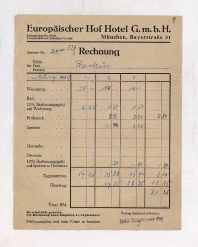Aleksandro Račkaus rankraščių fondas. I : Asmens ir buities dokumentai. - 1912-1940. 8, 9 : [Milano viešbučio