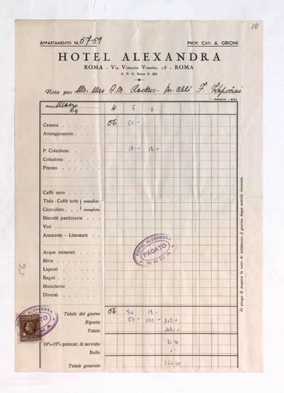 Aleksandro Račkaus rankraščių fondas. I : Asmens ir buities dokumentai. - 1912-1940. 8, 10 : [Milano viešbučio