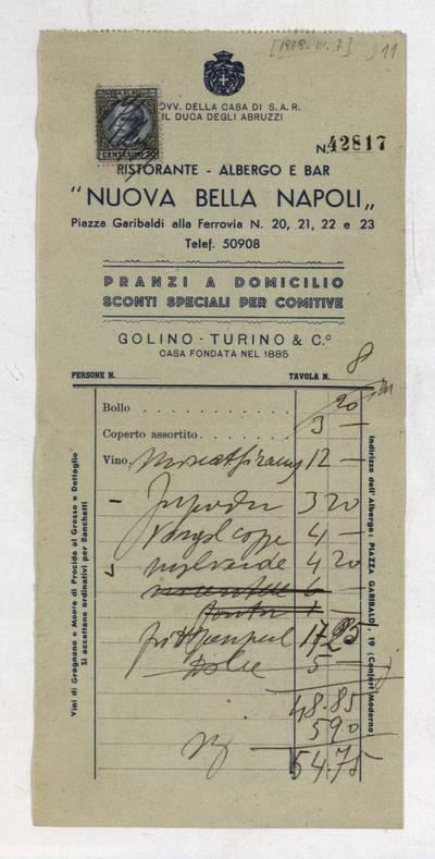 Aleksandro Račkaus rankraščių fondas. I : Asmens ir buities dokumentai. - 1912-1940. 8, 11 : [Milano viešbučio