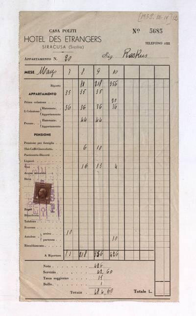 Aleksandro Račkaus rankraščių fondas. I : Asmens ir buities dokumentai. - 1912-1940. 8, 12 : [Milano viešbučio