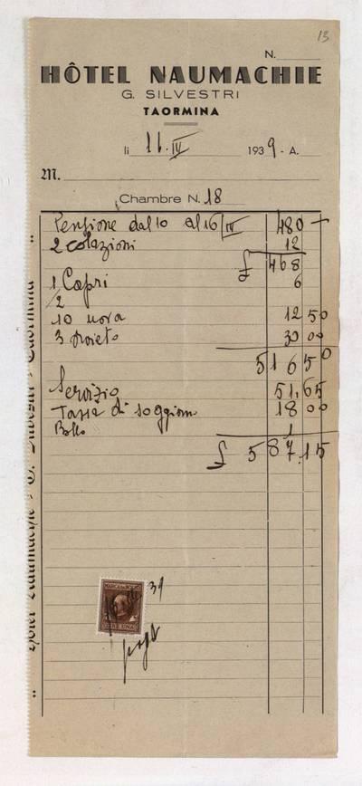 Aleksandro Račkaus rankraščių fondas. I : Asmens ir buities dokumentai. - 1912-1940. 8, 13 : [Milano viešbučio