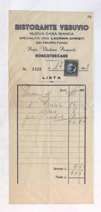 Aleksandro Račkaus rankraščių fondas. I : Asmens ir buities dokumentai. - 1912-1940. 8, 14 : [Milano viešbučio