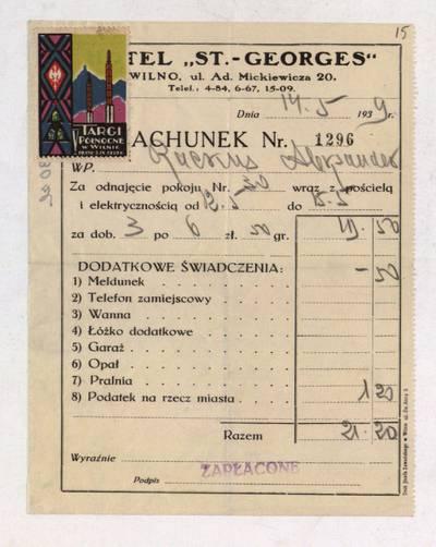 Aleksandro Račkaus rankraščių fondas. I : Asmens ir buities dokumentai. - 1912-1940. 8, 15 : [Milano viešbučio