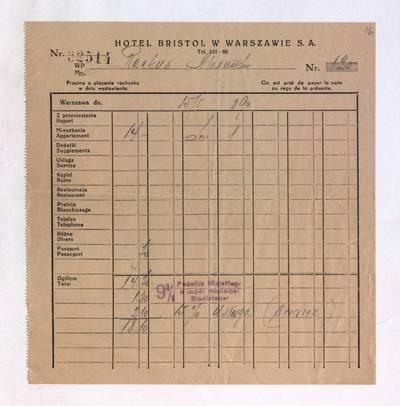 Aleksandro Račkaus rankraščių fondas. I : Asmens ir buities dokumentai. - 1912-1940. 8, 16 : [Milano viešbučio