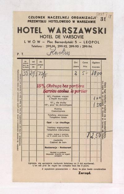 Aleksandro Račkaus rankraščių fondas. I : Asmens ir buities dokumentai. - 1912-1940. 8, 18 : [Milano viešbučio