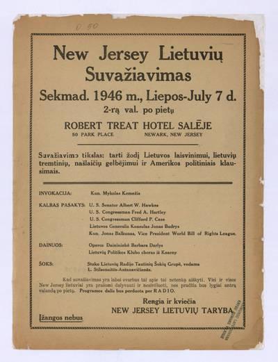 New Jersey lietuvių suvažiavimas. - 1946