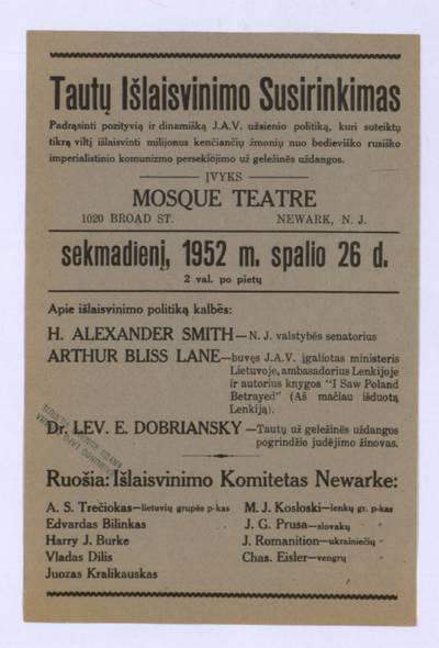 Tautų išlaisvinimo susirinkimas padrąsinti pozityvią ir dinamišką J.A.V. užsienio politiką ... - 1952