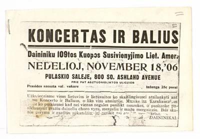 Koncertas ir balius. - 1906