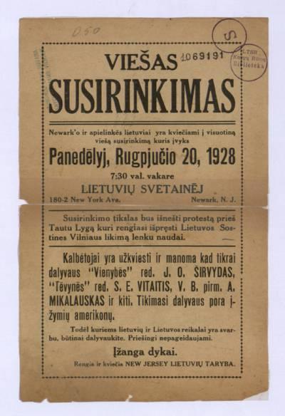 Viešas susirinkimas. Newark'o ir apielinkės lietuviai yra kviečiami į visuotiną viešą susirinkimą kuris įvyks panedėlyj, rugpjučio 20, 1928 [...] Lietuvių svetainėj [...] Newark, N.J. ... - 1928