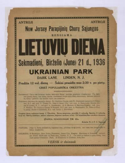 Antroji New Jersey parapijinių chorų sąjungos rengiama Lietuvių diena, sekmadienį, birželio (June) 21 d., 1936, Ukrainian Park, Linden, N.J. - 1936