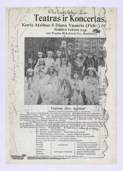 Teatras ir koncertas, kuris atsibus 5 diena vasario (Febr.) 19[16?] nedėlios vakare 7:45 ant naudos mokslainės Szv. Kazimiero. - 1916